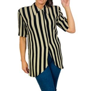 Vintage Michael Blake Black & Tan Striped Tunic